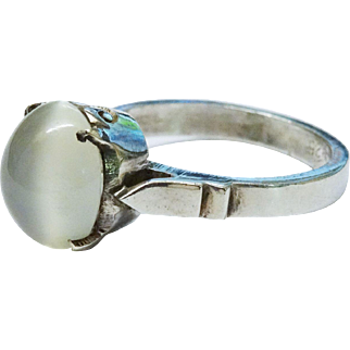 Glowing Moonstone Sterling Silver Ring Cabochon Fine Vintage