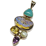 Terrific Boulder Opal Gemstone Pearl Sterling Silver Large Pendant Modernist Fine