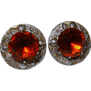 Wonderful Scottish Thistle Design Silver Topaz Glass Earrings Vintage