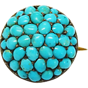 Victorian Turquoise Pave Silver Gilt Pin Button Pin