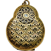 Victorian Yellow Gold Filled Enamel Double Locket