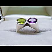 Vintage Modernist Peridot Purple Sapphire Sterling Silver Ring Fine Suffragette