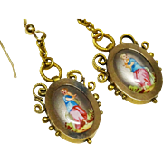 Victorian Hand Painted Lady Portrait Gilt Dangle Earrings
