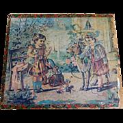 Antique Children Puzzle Block Set Toy Six Puzzles Original Wooden Box