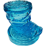 Electric Blue Pressed Glass Boot Figural Covered Dish Vintage