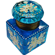 Antique Blue Glass Inkwell Enamel Decoration