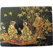 Antique Papier Mache Box Chinoiserie Decoration