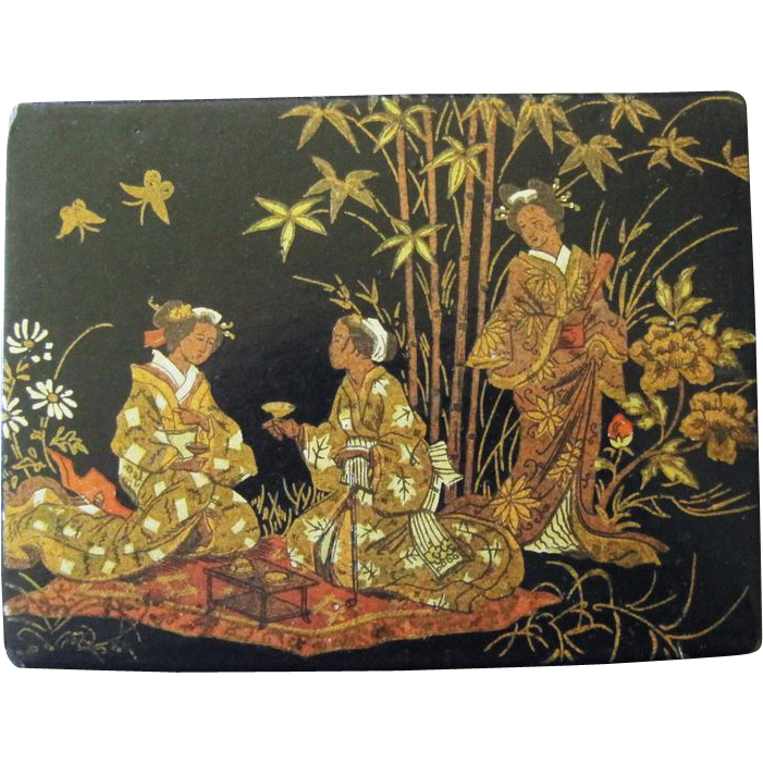 antique papier mache box chinoiserie decoration from rubylane sold on ruby lane. Black Bedroom Furniture Sets. Home Design Ideas