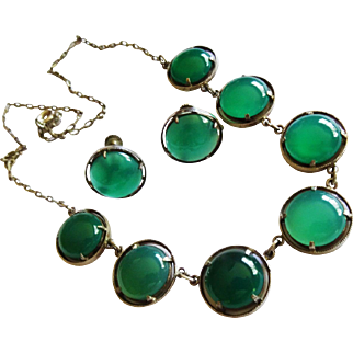 Reduced!  Deco Chrysoprase Cabochon Sterling Earrings Necklace Set Fine