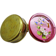 Charming Antique Cranberry Glass Brass Box Hand Painted Enamel Decoration Floral Insect Aesthetic