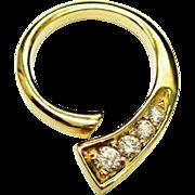Diamond 14K Gold Pendant Modernist Estate Fine
