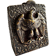 Antique Brass Eagle Repousse Stamp Box Fob Pendant Rare