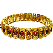 Gorgeous Edwardian Repousse Gilt Ruby Paste Bracelet Expandable