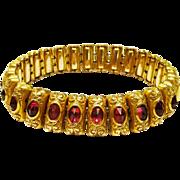 Gorgeous Edwardian Repousse Gilt Ruby Paste Bracelet Expandable