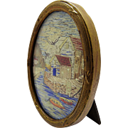 Precious Antique Framed Embroidered Seascape Miniature Fine
