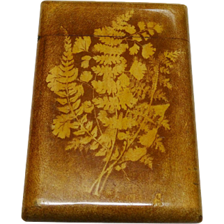 Antique Fernware Calling Card Case Wooden Fine