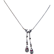 Gorgeous Georgian Diamond Ruby 14K YG Sterling Double Drop Pendant with Chain Fine Rare