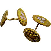 Antique Gold Filled Enamel Flower Cuff Links