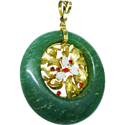 Awesome Nephrite Jade Opal Pendant  Floral Design