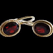 Precious Vintage Garnet Vermeil Sterling Silver Drop Earrings Fine