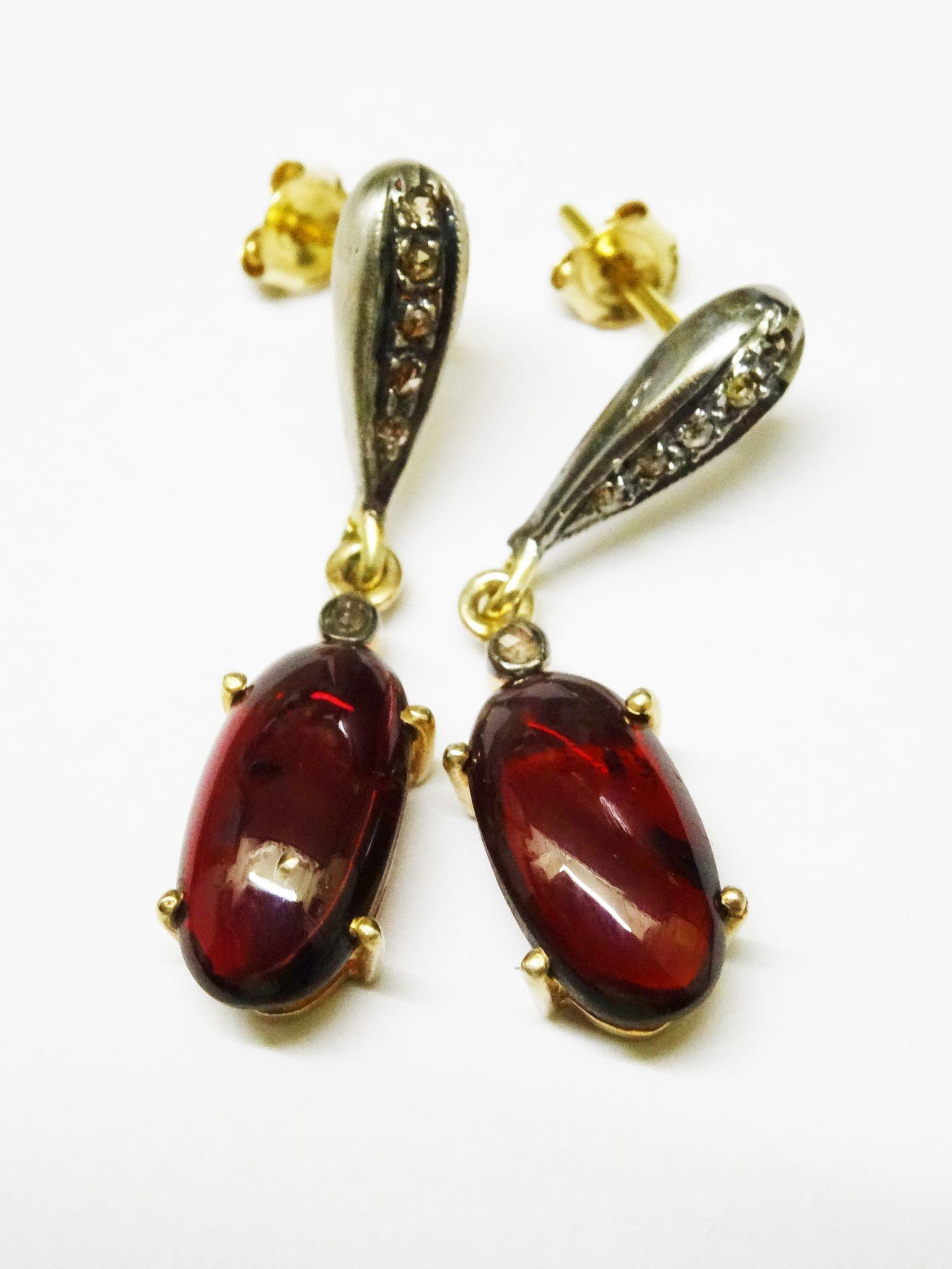 Lovely Garnet Cabochon Diamond 14K Gold Sterling Drop Earrings