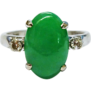 Lovely Diamond Jadeite Jade 14K White Gold Ring Trio Fine Vintage