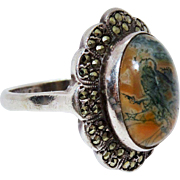 Awesome Vintage Moss Agate Marcasite Silver Ring
