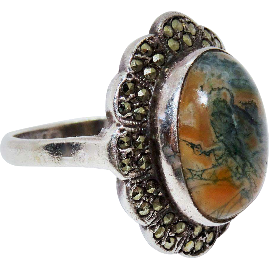 awesome vintage moss agate marcasite silver ring from