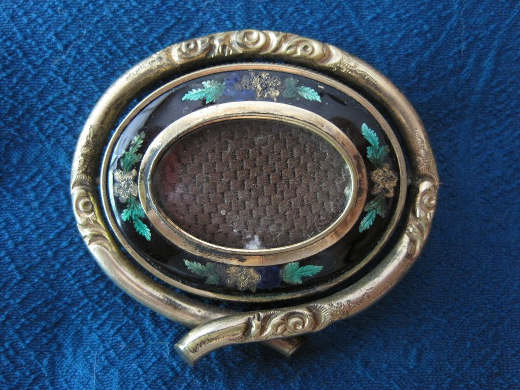 FINAL MARK DOWN! Edwardian Hair Memorial Enamel Brooch Swivel