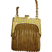 Vintage Mesh Coin Purse Gold Wash Faux Pearls