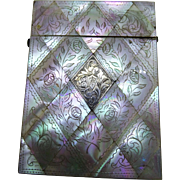 Antique Mother of Pearl Chased Card Case Silver Cartouche Fine