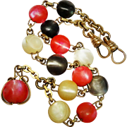 Antique Mother of Pearl Bead Watch Chain Gold Filled Rosary