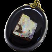 Vintage Boulder Opal Lucite Pendant Free Form Awesome