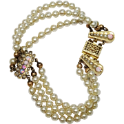 Early 1900's Faux Pearl Opal Bracelet Triple Strand
