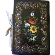 Victorian Papier Mache Blotter Hand Painted Mother of Pearl