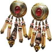 Super Pink Tourmaline Austrian Crystal Dangle Earrings Designer Tabra