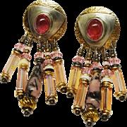 Pink Tourmaline Austrian Crystal Dangle Earrings Designer Tabra