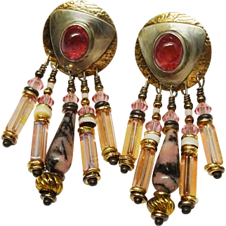 Pink Tourmaline Austrian Crystal Dangle Earrings Designer Tabra
