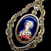 Victorian French Enamel Portrait Pendant Silver Fine