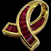 Ruby Baguette 14K Yellow Gold Pendant Slide Ribbon Motif Fine Beautiful