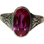 Handsome Russia 875 Silver Simulated Ruby Ring Fine Vintage