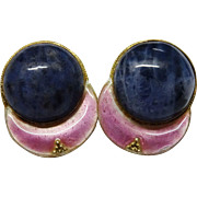 Attractive Sodalite Sterling Gilt Enamel Earrings Modernist
