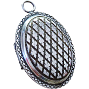 Handsome Vintage Ornate Silver Plate Locket Pendant