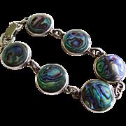 Art Deco Abalone Sterling Silver Link Bracelet Vintage