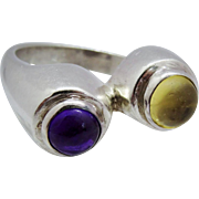 Handsome Modernist Amethyst Citrine Cabochon Sterling Silver Ring Fine