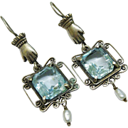 Sensational Sterling Silver Aqua Glass Filigree Dangle Earrings Hand Motif Freshwater Cultured Pearl