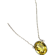 REDUCED!~Pretty Art Deco Citrine Bezel Sterling Necklace 7 Carats Fine