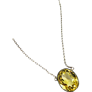 Pretty Art Deco Citrine Bezel Sterling Necklace 7 Carats Fine