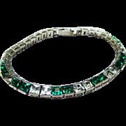Elegant Art Deco Emerald Diamond Rhinestone Sterling Silver Line Bracelet