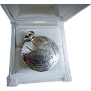 Awesome Sterling Silver Chased Pendant Swimming Fish Motif Vintage